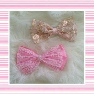 Pink Bow Hair Clips (2)